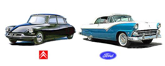 Citroën DS 1955 (left) & Ford Convertible 1955 (right)